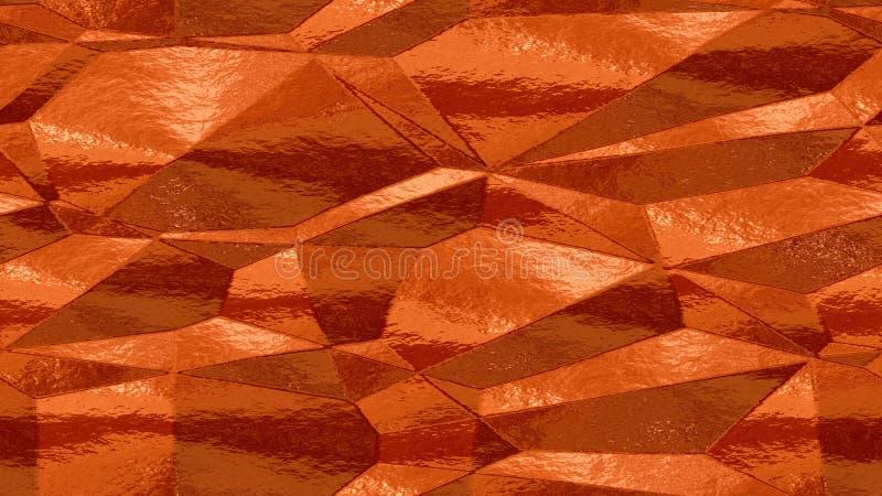De achtergrond van de patroontextuur - oranje roestig koper gekleurd bladmetaal stock illustratie