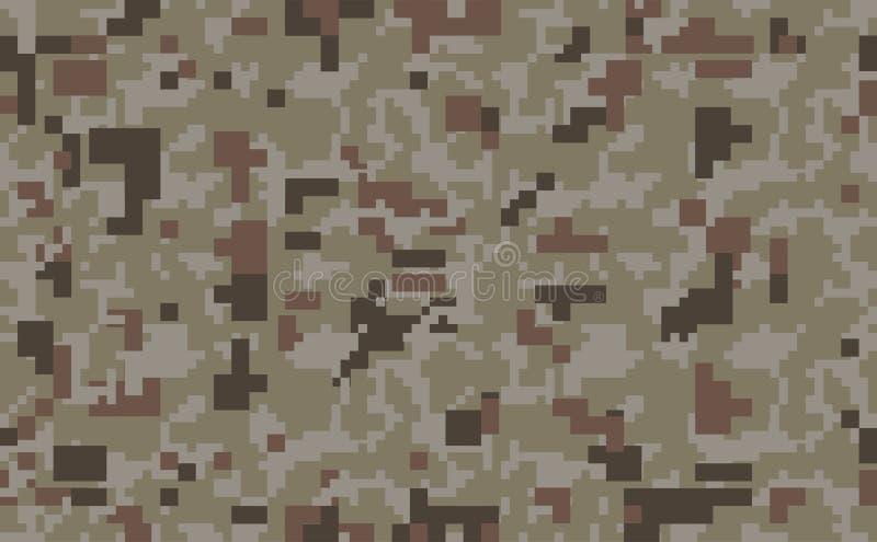 De achtergrond van pixelcamo Naadloos camouflagepatroon Militaire textuur Woestijn bruine kleur royalty-vrije illustratie