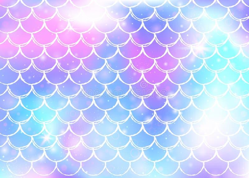 De achtergrond van de prinsesmeermin met de schalenpatroon van de kawaiiregenboog royalty-vrije illustratie
