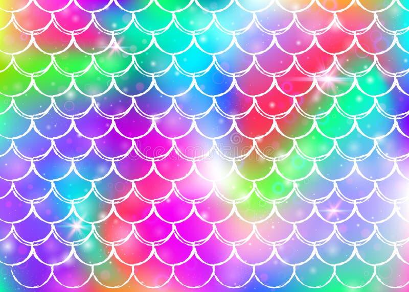 De achtergrond van de prinsesmeermin met de schalenpatroon van de kawaiiregenboog vector illustratie
