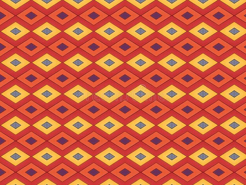 De achtergrond van raad met het herhalen van diamantvorm schilderde helder kleuren violet oranjegeel rood vector illustratie