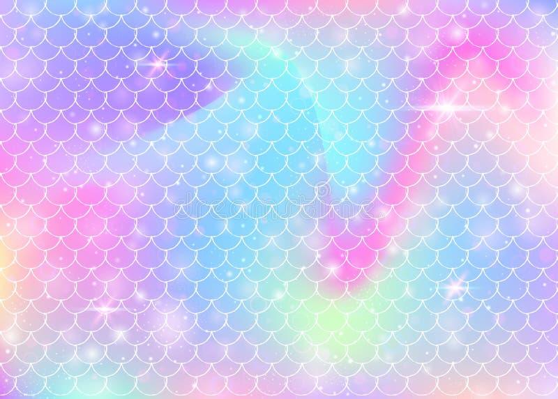 De achtergrond van regenboogschalen met de prinsespatroon van de kawaiimeermin vector illustratie