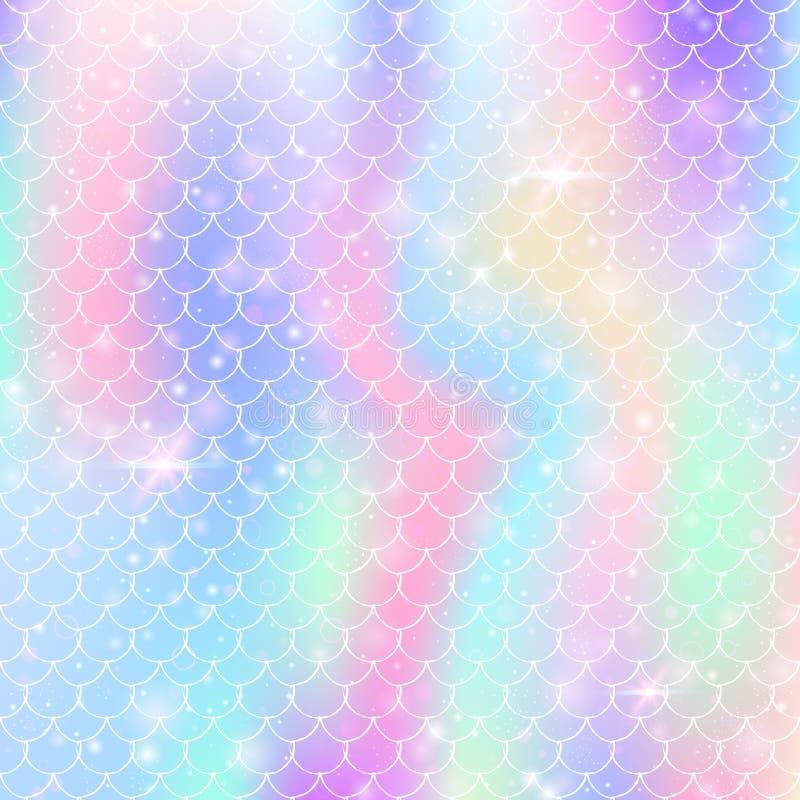 De achtergrond van regenboogschalen met de prinsespatroon van de kawaiimeermin stock fotografie