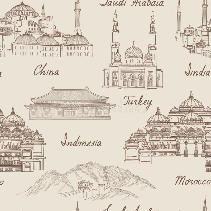 De achtergrond van reisazië Wereldberoemd oriëntatiepunt naadloos patroon stock illustratie