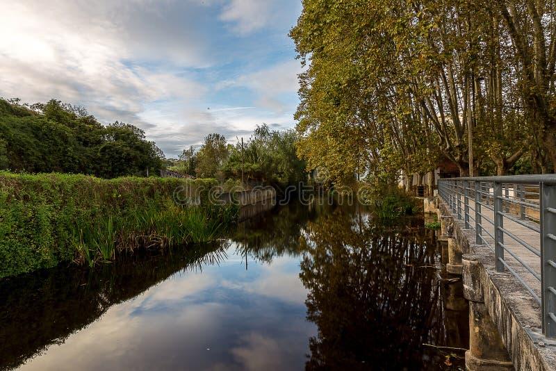 De Achtergrond van de rivierscène onder een Mooie Hemel stock afbeeldingen