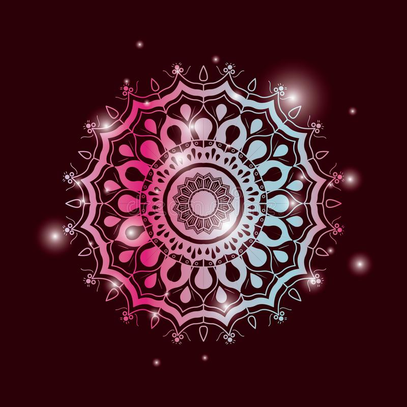 De achtergrond van de rode wijnkleur met helderheid en het kleurrijke briljante uitstekende decoratieve ornament van bloemmandala vector illustratie