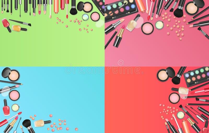 De achtergrond van de schoonheidsmiddelenmanier met maakt omhoog kunstenaarshulpmiddelen Plaats uw vectorillustratie van het teks stock illustratie