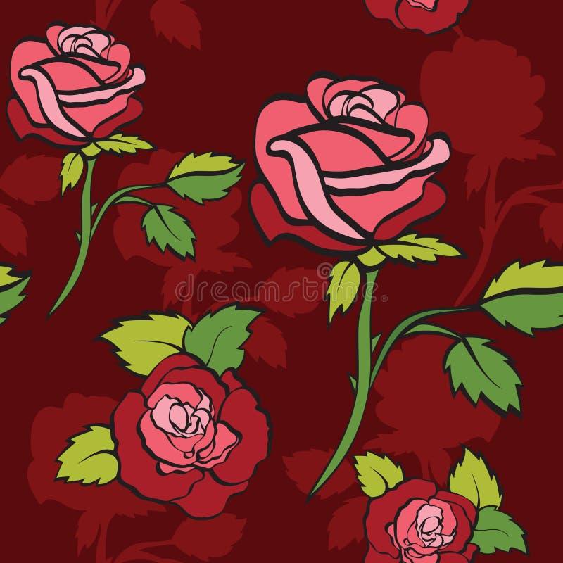 De achtergrond van Semless met rozen stock illustratie