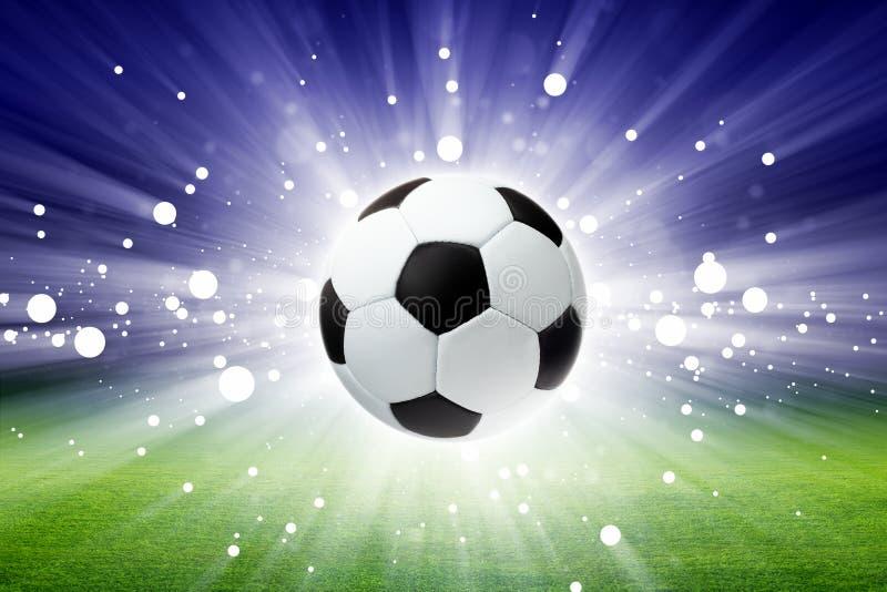 De bal van het voetbal, stadion, licht vector illustratie