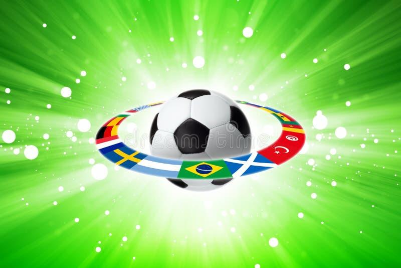 De bal van het voetbal, vlaggen, licht vector illustratie
