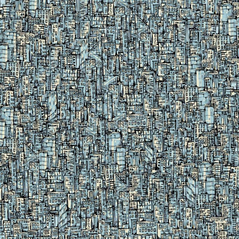 De achtergrond van de stad Getrokken hand vector illustratie