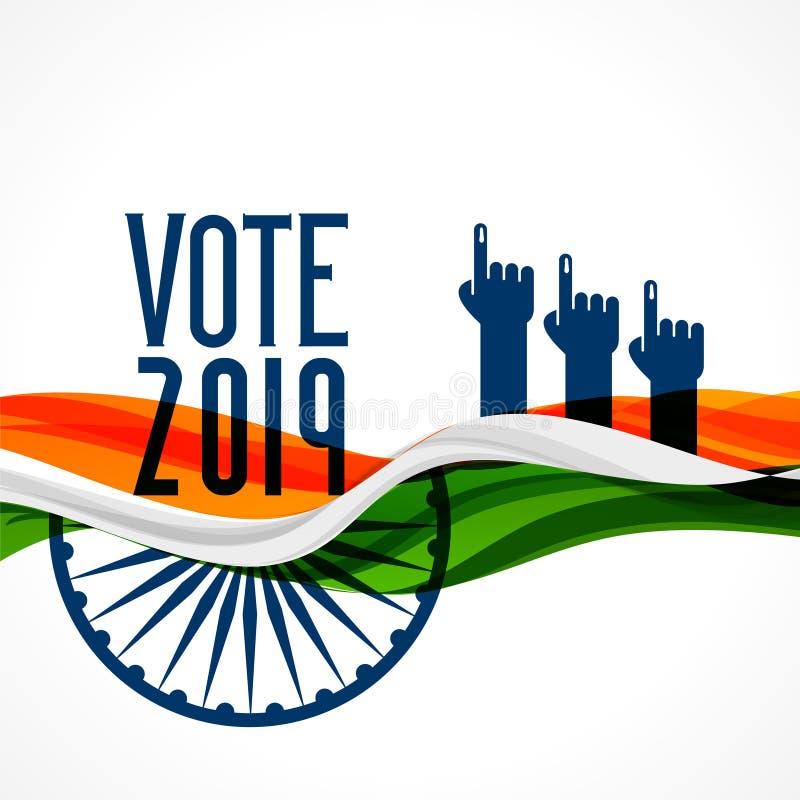 De achtergrond van stemindia met vlag en hand royalty-vrije illustratie