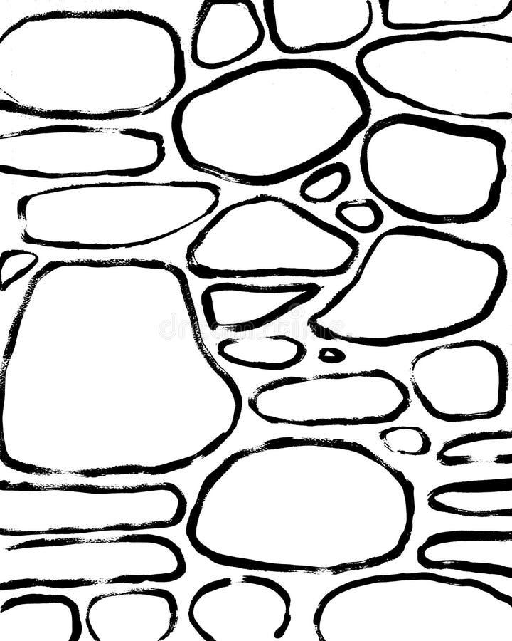 De achtergrond van stenen Abstracte Hand Getrokken Binnenlandse Post vector illustratie