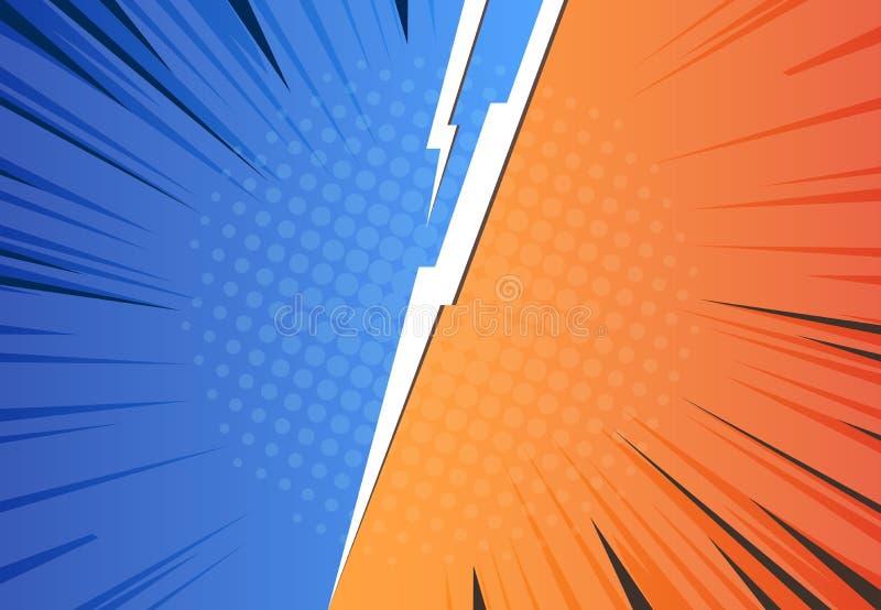De achtergrond van de strippaginabliksem Pop-art tegenover pijl, halftone de uitdagings retro ontwerp van de heldenslag, Vector V stock illustratie