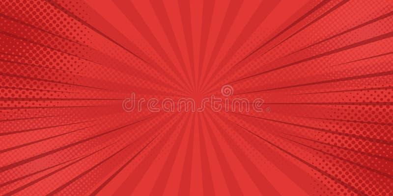 De achtergrond van strippaginastralen met halftinten Vector vector illustratie