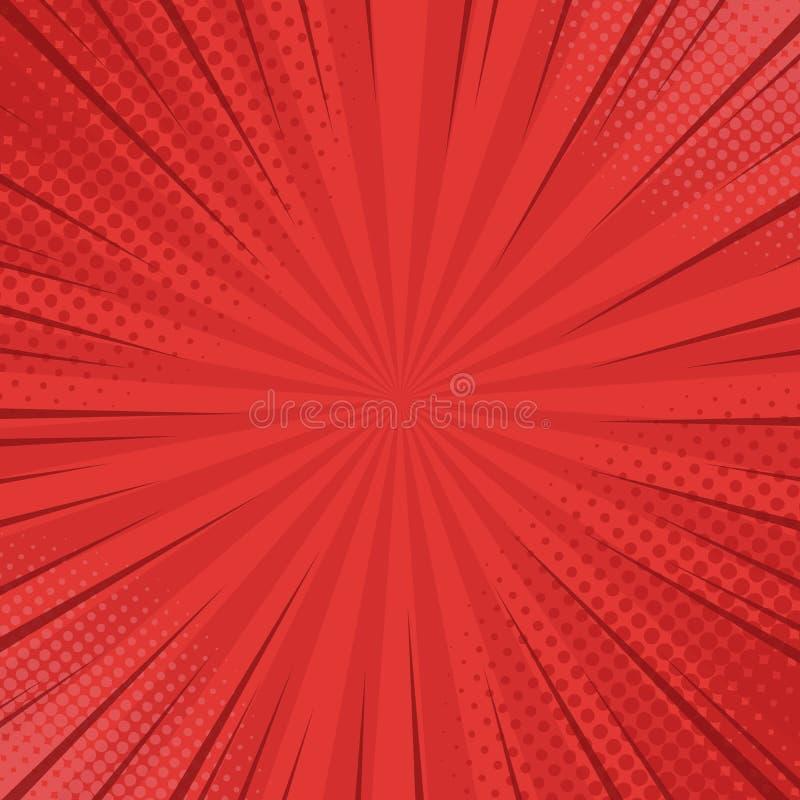 De achtergrond van strippaginastralen met halftinten De vectorzomer stock illustratie