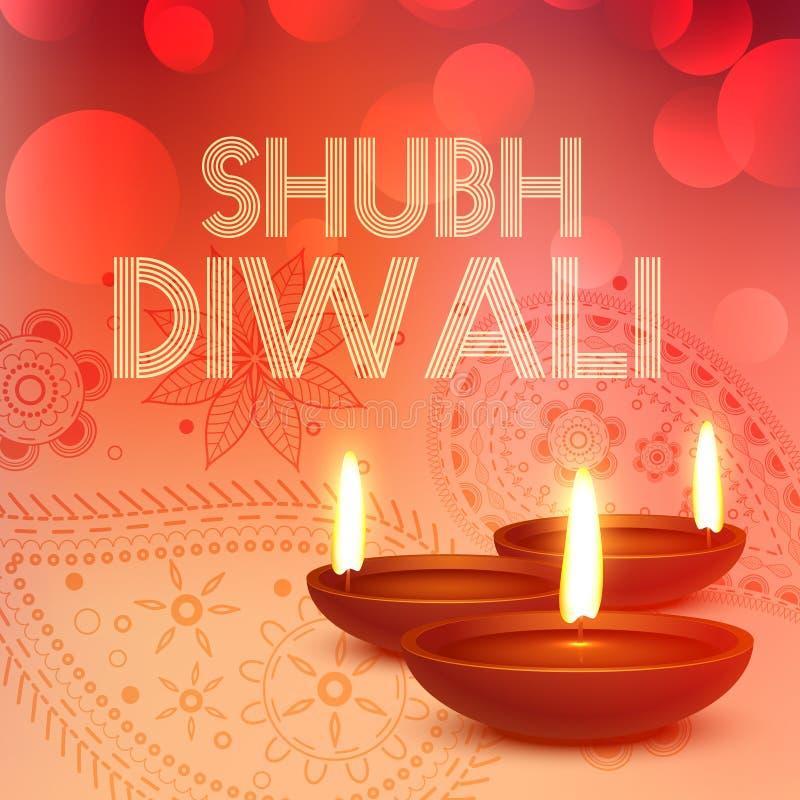 De achtergrond van Subhdiwali met diya in rode kleur royalty-vrije illustratie