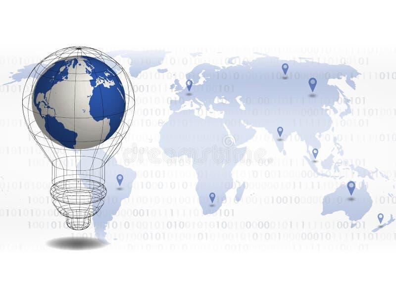 De achtergrond van de technologie 3d wereldkaart in bol met achtergrond van plaatspunt op wereldkaart voor globale technologiecon vector illustratie