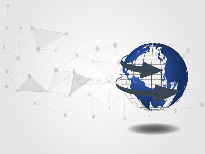 De achtergrond van de technologie 3d wereldkaart voor technologieconcept en globale verbinding Pijltekens die concept tonen van r royalty-vrije illustratie