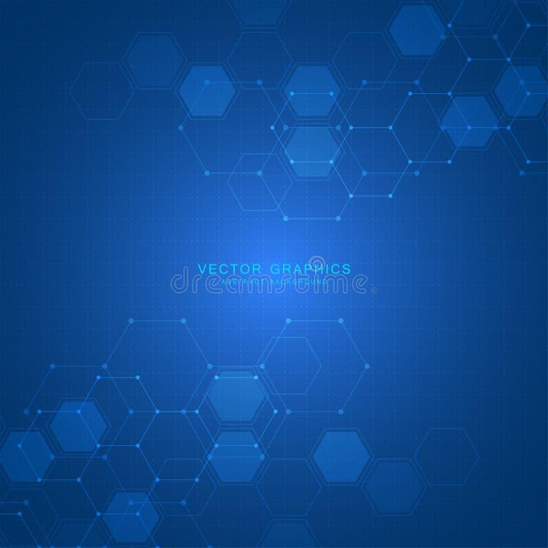 De achtergrond van de technologie met zeshoeken Moleculaire structuur en chemische samenstellingen stock illustratie