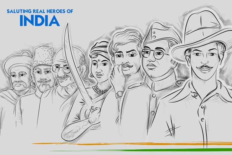 De achtergrond van Tricolorindia met Natieheld en Vrijheid vector illustratie