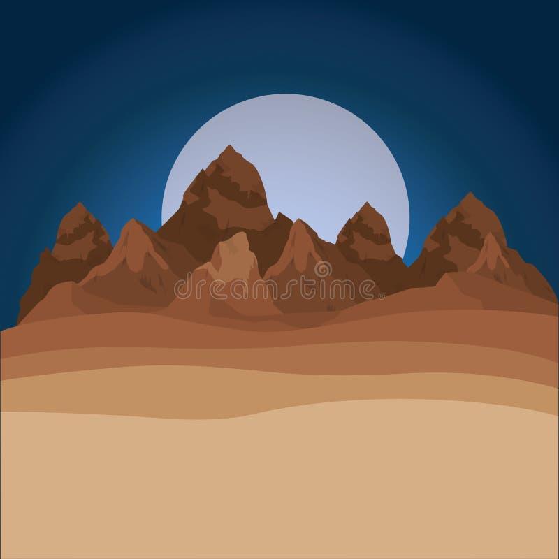 De achtergrond van de de trogscène van de woestijnnacht stock illustratie