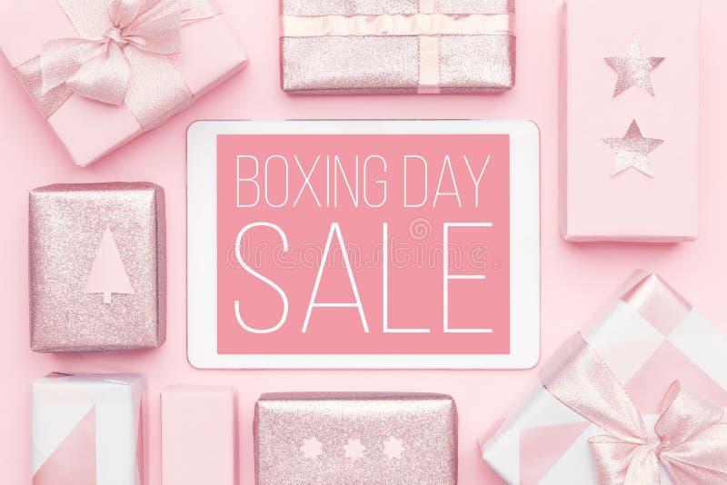De achtergrond van de tweede kerstdagverkoop Online Winkelend, Kerstmisverkoop royalty-vrije stock fotografie