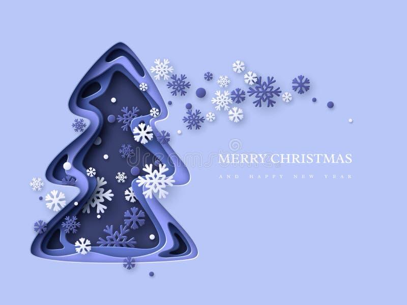 De Achtergrond van de Vakantie van Kerstmis Document besnoeiingskerstboom met sneeuwvlokken 3d gelaagd effect in blauwe kleuren,  stock illustratie