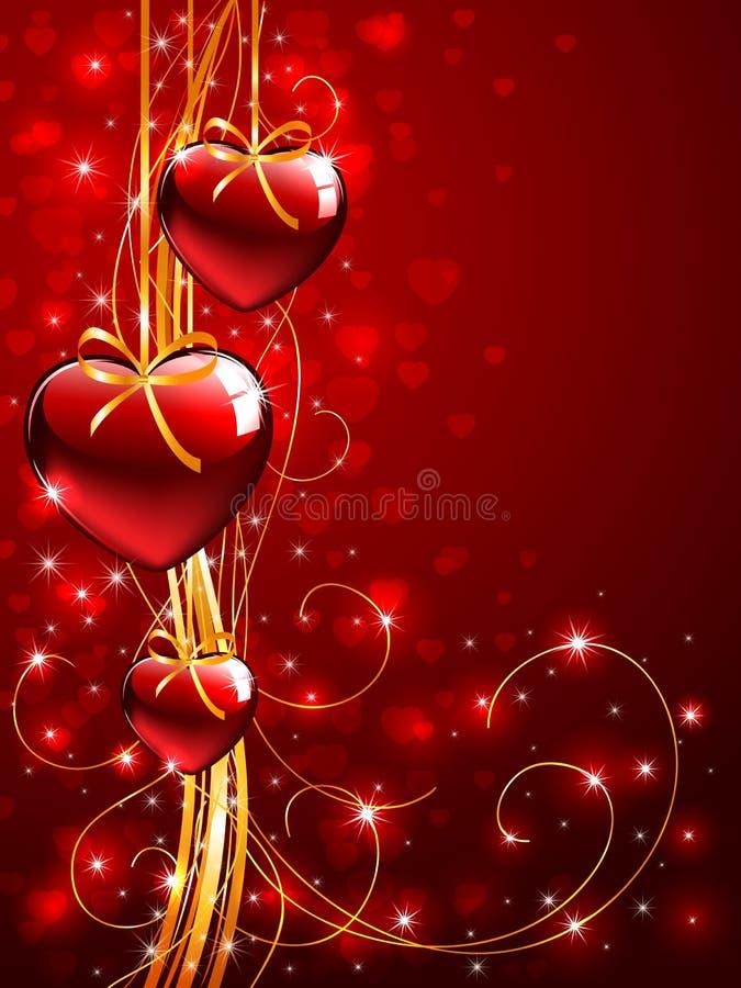 De achtergrond van valentijnskaarten met boom rode Harten royalty-vrije illustratie