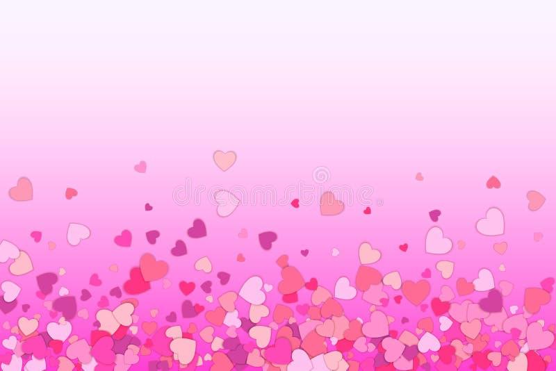 De achtergrond van de valentijnskaartendag De bloemblaadjes van confettienharten het vallen Hart stock illustratie
