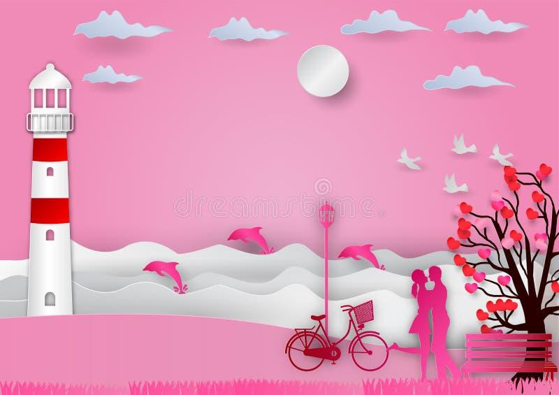 De achtergrond van de valentijnskaartendag met de mens en de vrouw in liefde hebben fiets en een boom uit harten en overzees met  vector illustratie