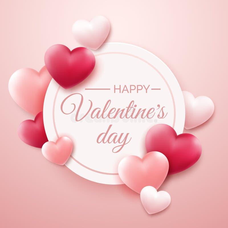 De achtergrond van de valentijnskaartendag met rode en roze harten en plaats voor tekst De illustratie van de vakantiekaart op li vector illustratie