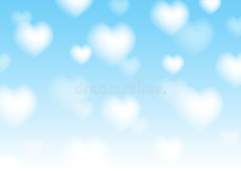 De achtergrond van de valentijnskaartendag met vage harten royalty-vrije illustratie