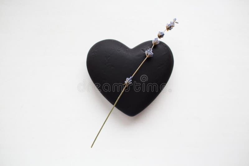 De achtergrond van de valentijnskaartendag Zwarte geweven die hart en lavendelbloem op wit wordt geïsoleerd royalty-vrije stock fotografie
