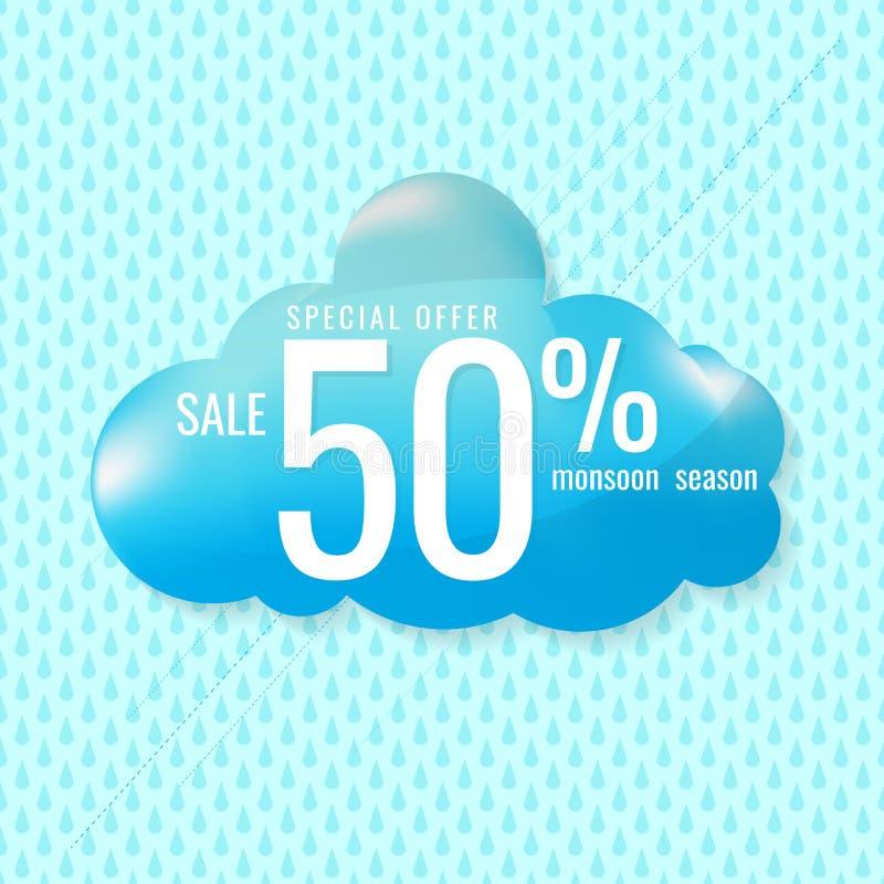 De achtergrond van de verkoopbanner Vector illustratie Regenachtig seizoenontwerp royalty-vrije illustratie