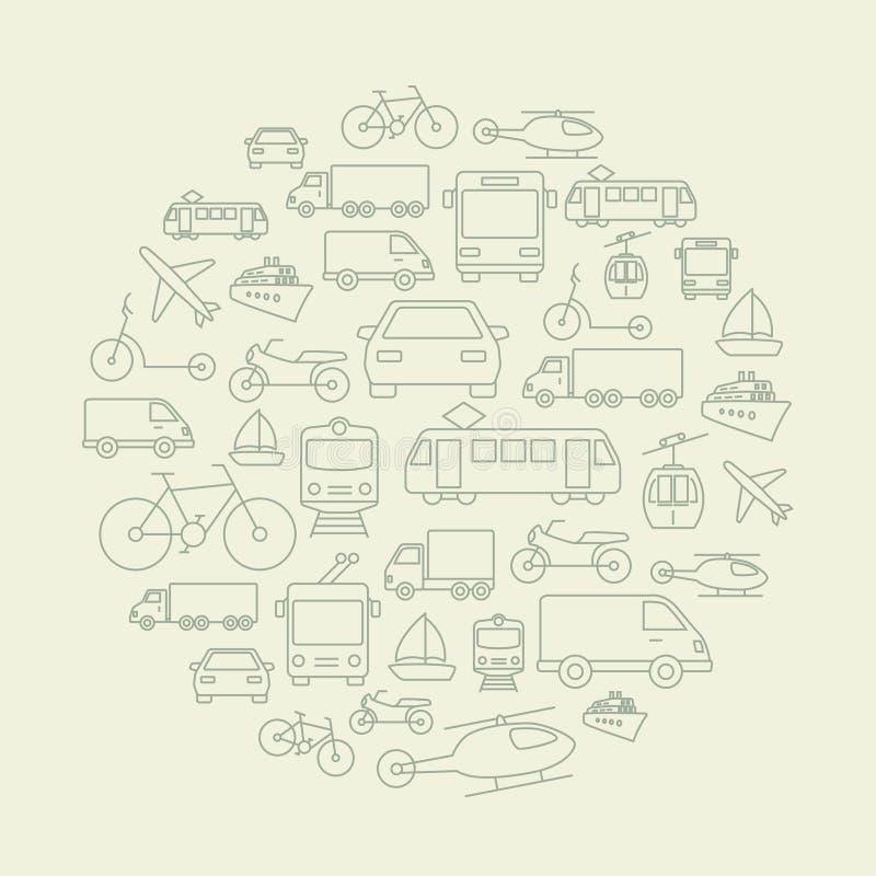 De Achtergrond van vervoerpictogrammen royalty-vrije illustratie