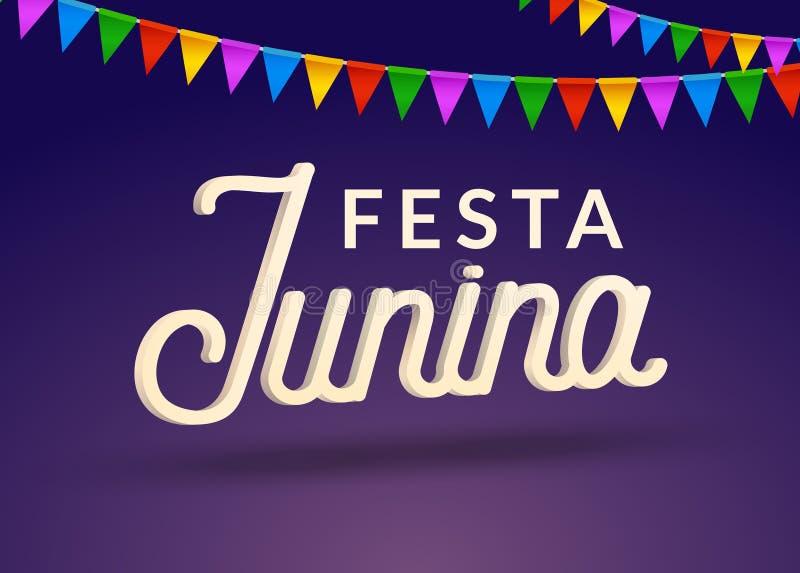 De achtergrond van de de vieringspartij van Festajunina Van de het festivalvakantie van Brazilië juni het ontwerp van Carnaval vector illustratie