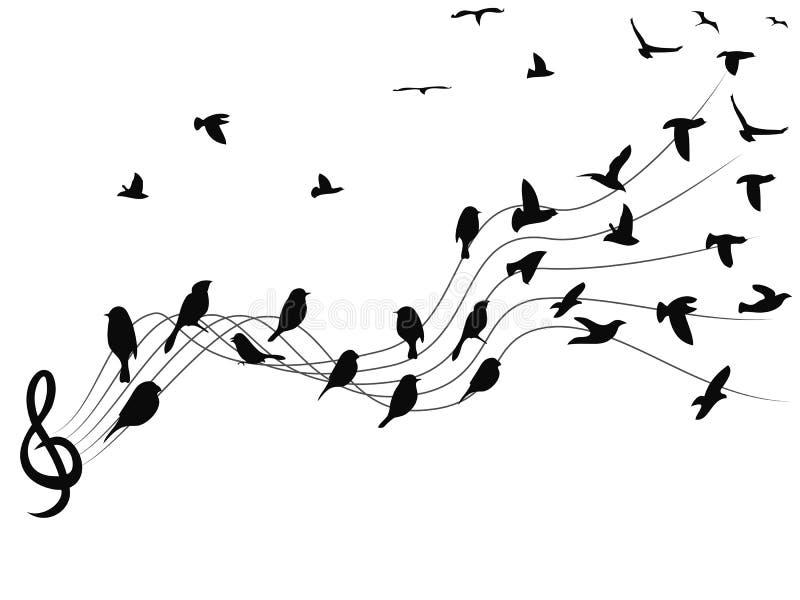 De achtergrond van vogelsmuzieknoten royalty-vrije illustratie