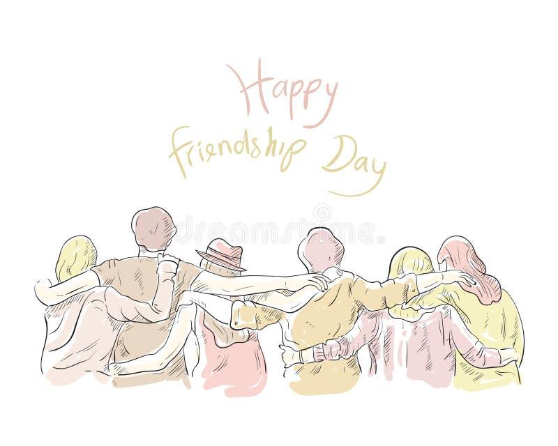 De achtergrond van de vriendschapsdag met samenhorigheid De tekening van de hand Groet, affiche, banner Vector illustratie kleurr royalty-vrije illustratie