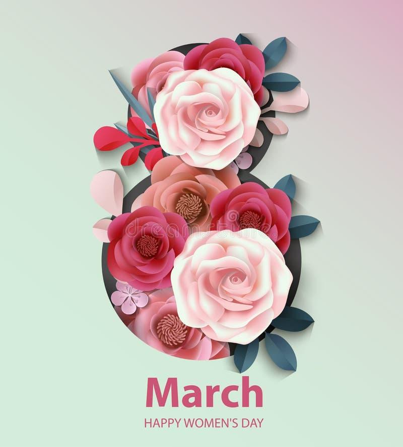 De achtergrond van de vrouwen` s dag met document bloem 8 de Vectorillustratie van maart royalty-vrije illustratie