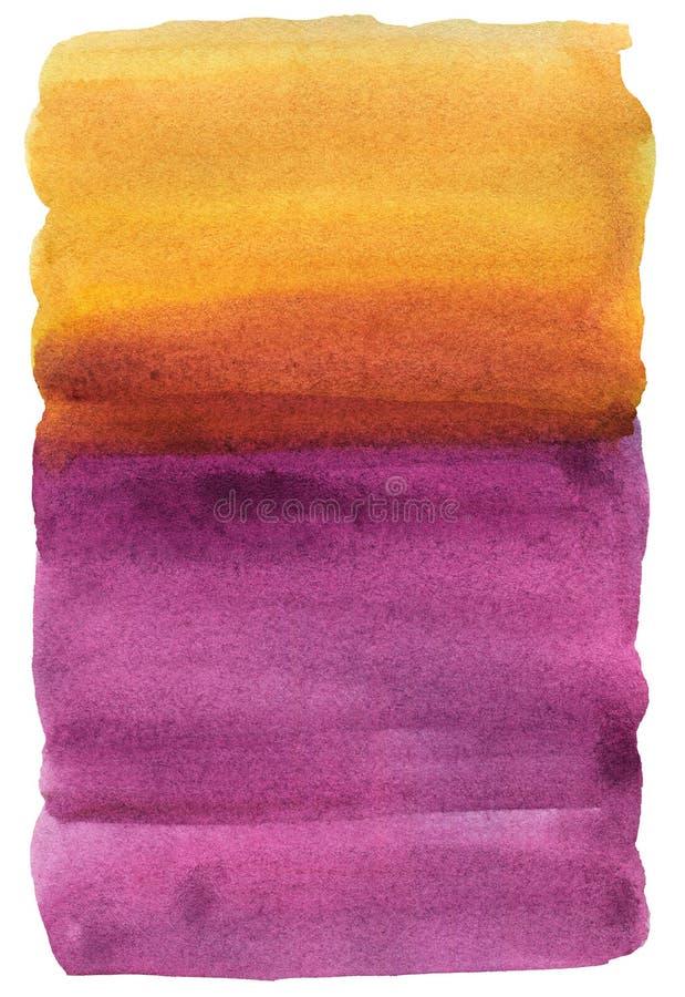 De achtergrond van de waterverf Karmozijnrode sinaasappel, geel, Textuur vector illustratie