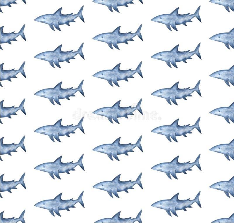 De achtergrond van de waterverfhaai Hand geschilderd waterverfpatroon met gestileerde blauwe haai stock illustratie