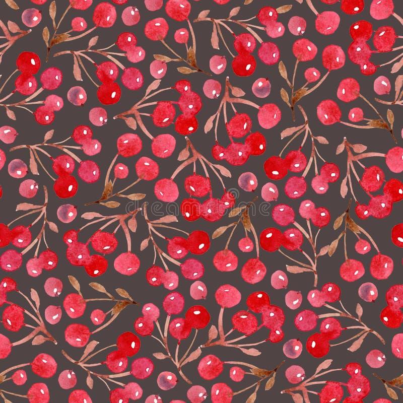 De achtergrond van waterverfkerstmis van bladeren en rode bes vector illustratie