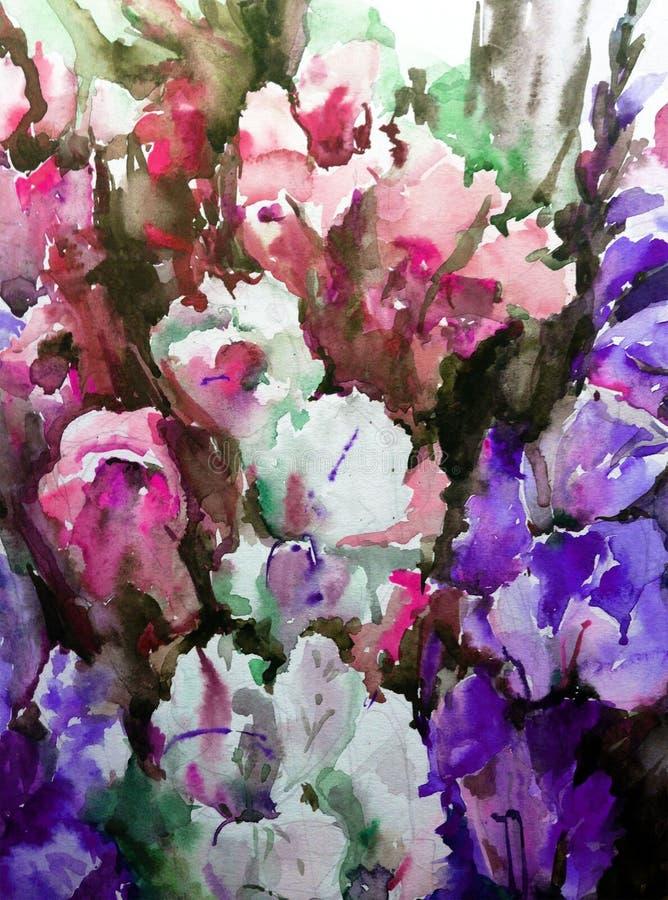 De achtergrond van de waterverfkunst bloeit gevoelig iris violet roze royalty-vrije illustratie