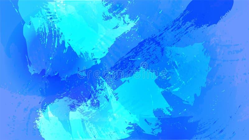 De achtergrond van de waterverfplons in blauwe schaduwen stock illustratie