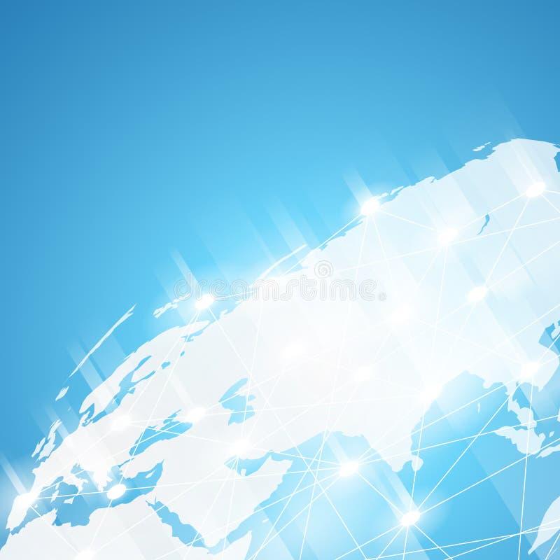 De achtergrond van de wereldtechnologie, wereldwijd netwerkvector vector illustratie