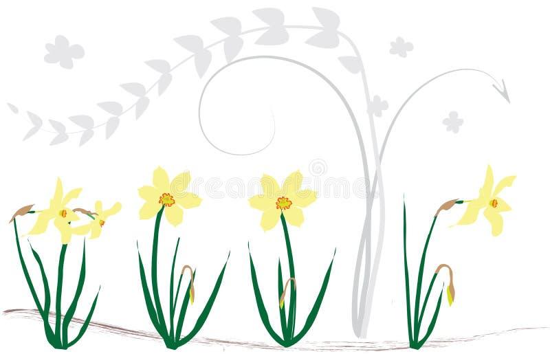 De achtergrond van wervelingen met gele narcissen vector illustratie