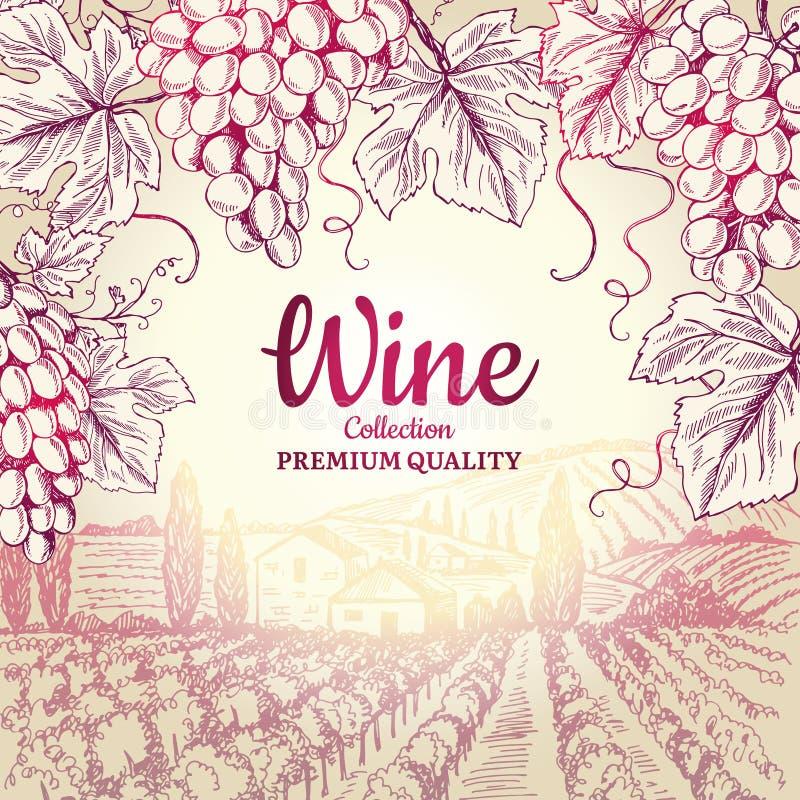 De achtergrond van de wijn De druivenbladeren vertakken zich de symbolen van de flessenkurketrekker voor het menu vectorontwerp v vector illustratie