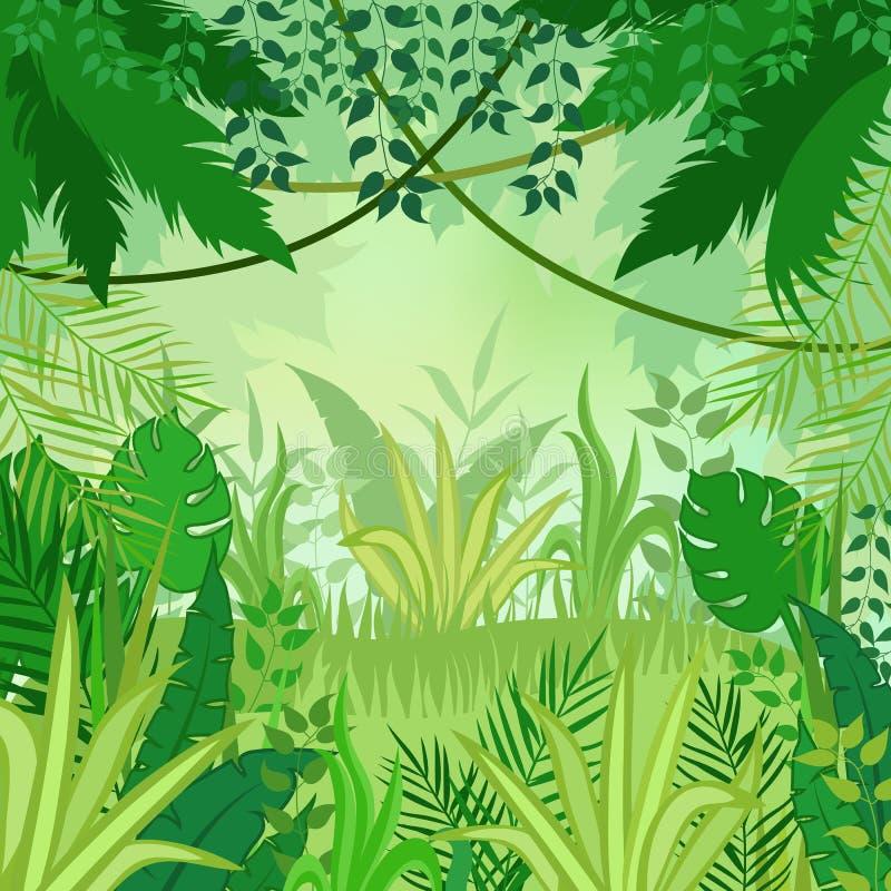 De Achtergrond van de wildernis Bomen en installaties Vector illustratie stock illustratie