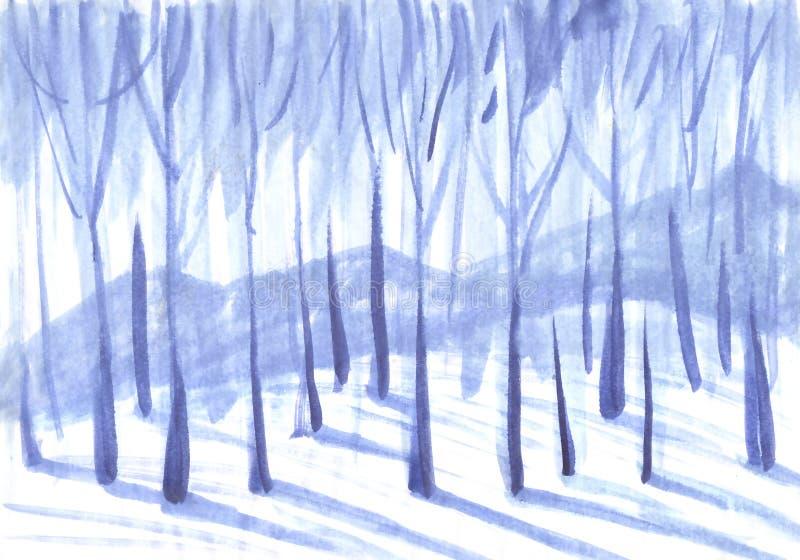 De achtergrond van de winter Bomen in een sneeuwbos royalty-vrije illustratie